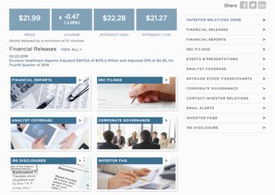 Envision Healthcare Investors page (desktop)
